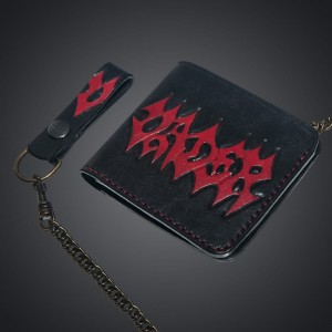 WALLET - Necronomicon/chain/ logo color/leather *HAND MADE*